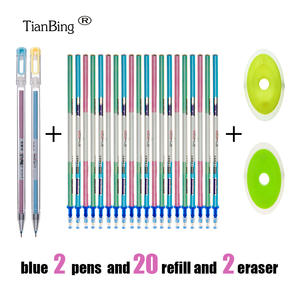 Writing wrasable Pen Set Washable handle Blue Black Color Ink Writing Ballpoint Pens for School Office Stationery Supplies Exam