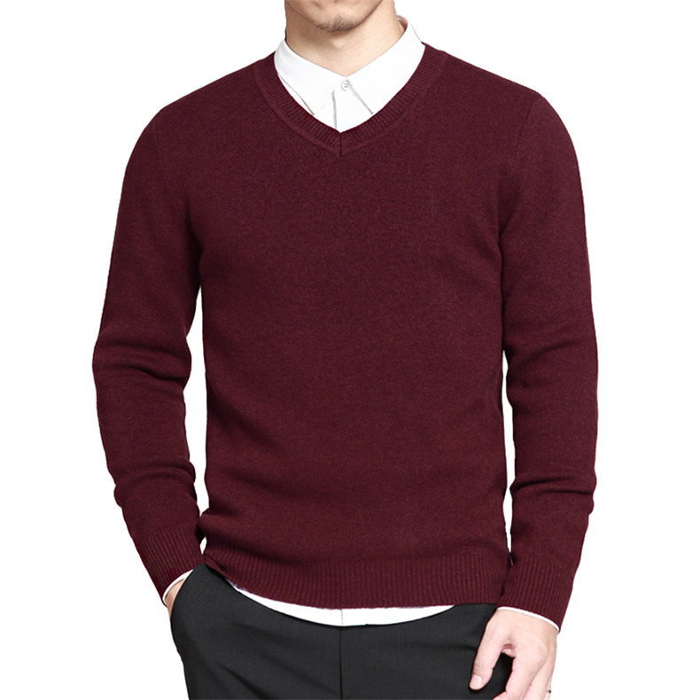 Slim Sweater Pollovers Men Casual Cotton Sweater Jumper Pullover Male Business V-Neck Knitwear Jersey Man Plus Size 4XL Black 03