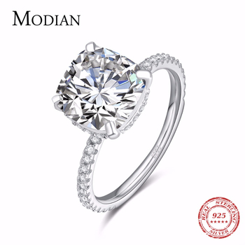 Modian Luxury Genuine 925 Sterling Silver Ring Classic 4CT 10 Hearts Arrows Zircon Jewelry For Women Engagement Wedding Rings moonso a pair luxury genuine 925 sterling silver rings for women wedding engagement jewelry lr236s