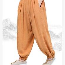 Осень и весна хлопок и лен буддизм дзен брюки шаолин монах Кунг блумеры для кунг-фу Будда леи медитация брюки