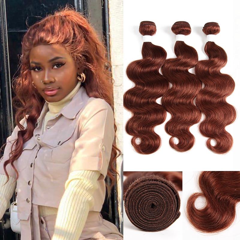 Brown Auburn 33# Brazilian Body Wave Human Hair Bundles KEMY HAIR Pre-Colored Human Hair Weave Bundles Non-Remy Hair Extension