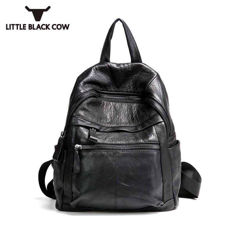 Cuir de vachette souple sac à dos en cuir véritable femmes de haute qualité en cuir de vache véritable sacs de voyage noir pour dames sac à dos filles sac d'école