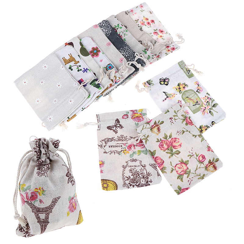 5PCS/lot Drawstring  Bags Mini Jute Drawstring Burlap Bags Party Christmas Gift Jewelry Pouches Packing Bag