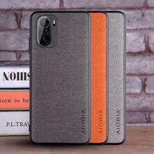 Xiaomi redmi k40 caso capa de couro têxtil de luxo pele macia tpu borda duro pc volta capa para xiaomi redmi k40 pro telefone coque