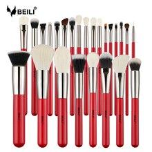 Beili赤25個プロフェッショナルナチュラルメイクセットパウダーファンデーションチークアイシ眉毛美容メイクアップブラシキット