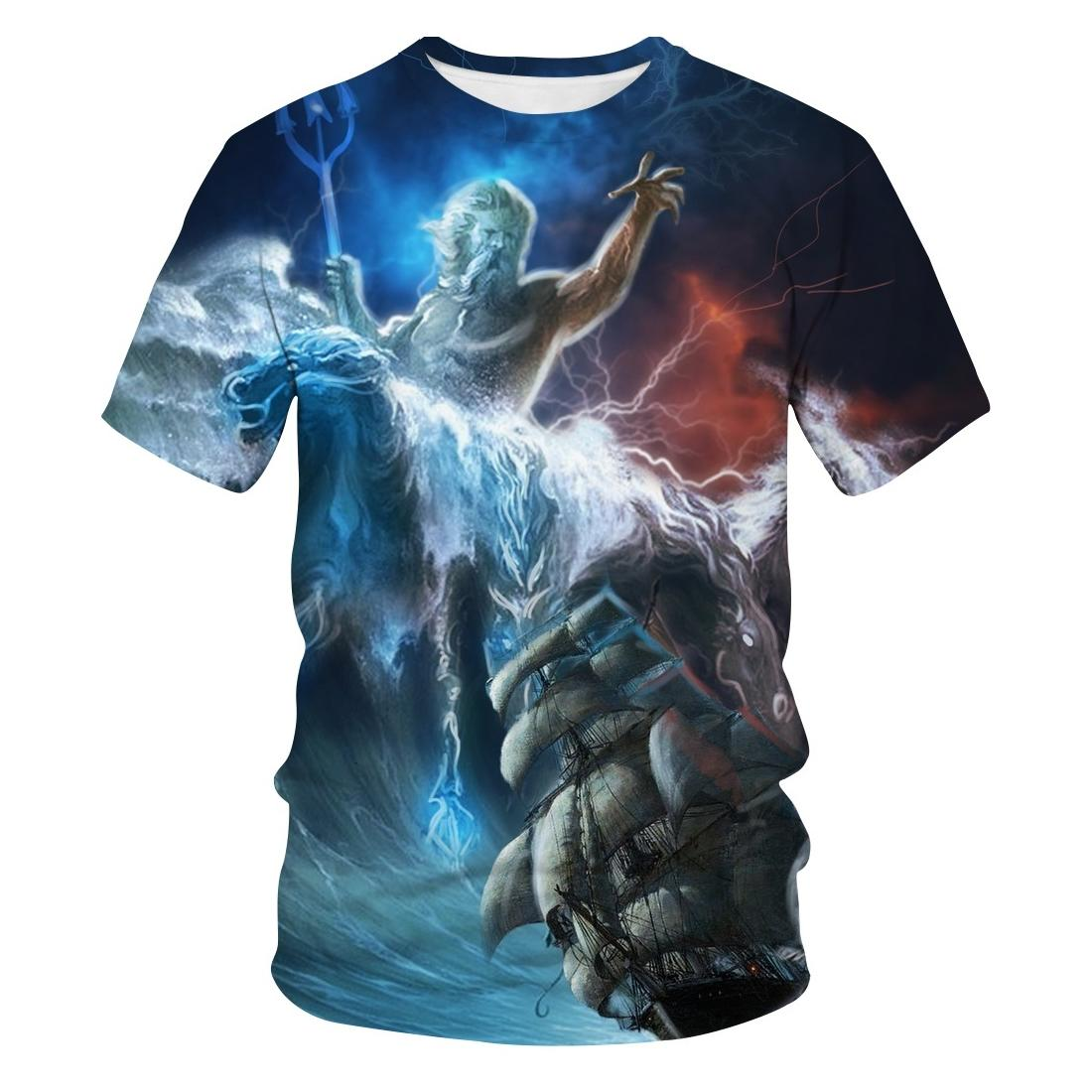 2020 New Hot Sale Fashion Trend 3D New T-shirt Haiwang / Poseidon Personality New T-shirt Haizhizi T-shirt O-neck Top&Tees