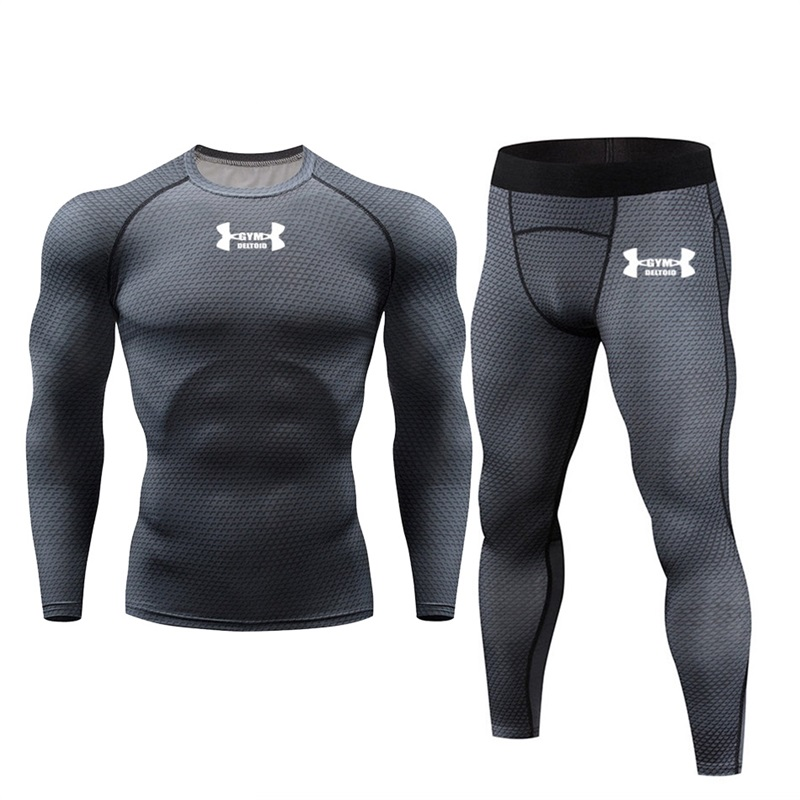 Mens Sport Joggers Set Compression T-Shirt + Pants Skin-Tight Long Sleeves Fitness Rashguard MMA Training Clothes Jogging Suits