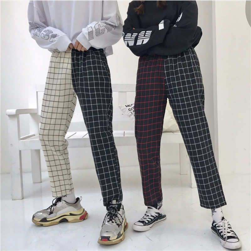 Vintage Plaid Patchwork Pants Women Men Harajuku Elastics High Waist Hip Hop Pants Korean Causal Straight Trousers