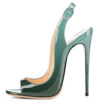 YECHNE Leather Summer Blue Pumps 2020 Women Peep Toe Sandals Plus Size 33 - 43 Green Purple High Heels Sandals Sexy Patent