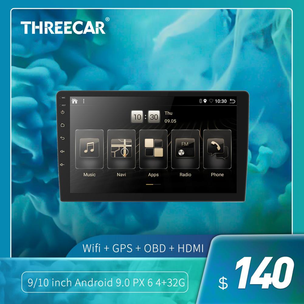 Threecar Android 9.0 Ouad rdzeń PX6 samochodu radio stereo nawigacja gps odtwarzacz audio-wideo PC Wifi, BT HDMI AMP 7851 OBD DAB + SWC