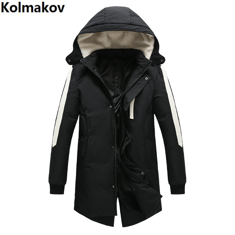 2019 New Men's Winter Brand High Quality 80% White Duck Down Hooded Jackets Men Hooded Down Jackets Winter Long  Warm Overcoats