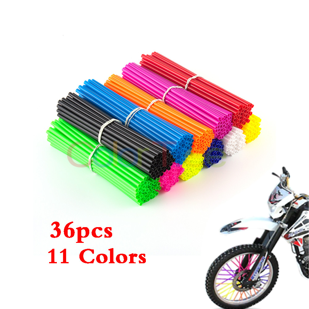36pcs Universal Wheel Spoke Protector Motocross Rims Skins Off Road Motorcycle Guard Wraps Kit Orange Motorcycle Spoke Wraps