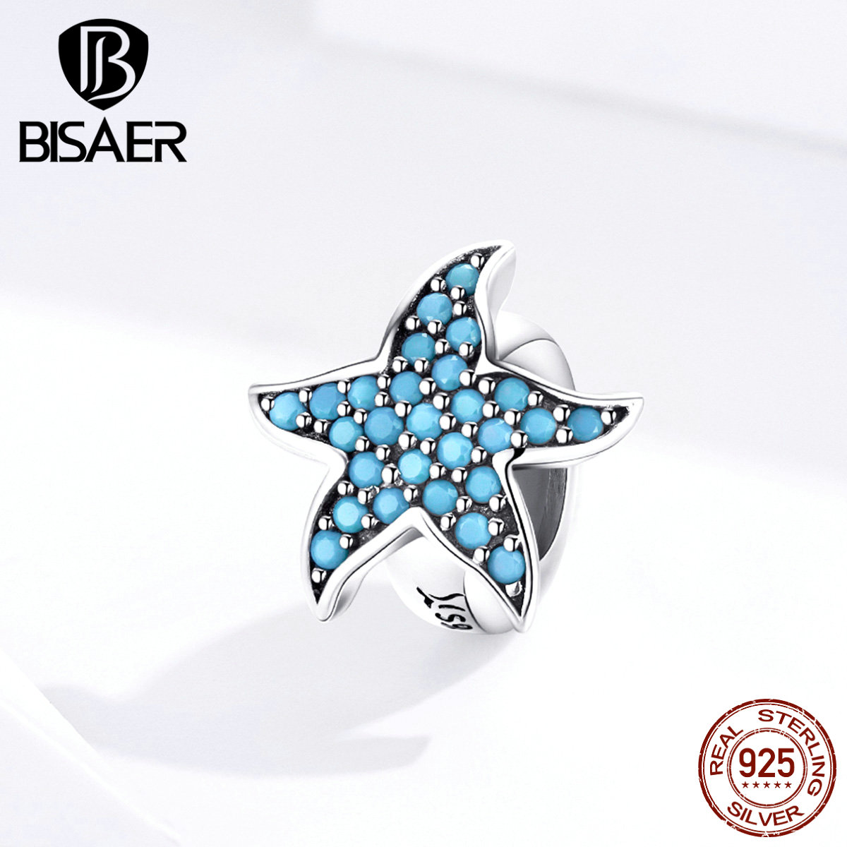 Starfish Beads BISAER 925 Sterling Silver Tropical Starfish Beads Blue Zircon Charms Fit Bracelets DIY Jewelry Making ECC1313