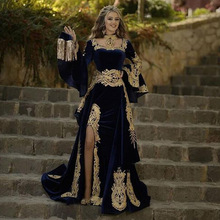 Evening-Dress Detachable-Skirt Kaftan Prom-Gown Velvet Morocco Arabic Mermaid Long-Sleeve