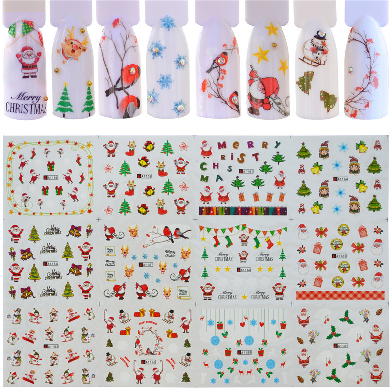 AliExpress Wish Hot Selling Exquisite 12-a Manicure Set Halloween Christmas Nail Sticker