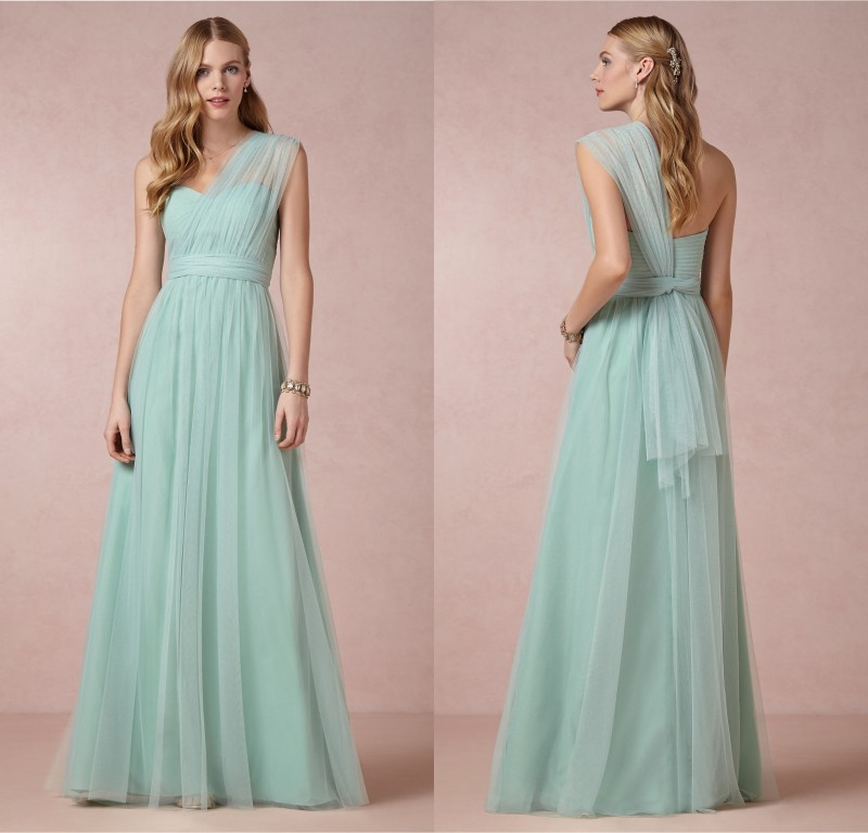 New Arrival Long 2018 Sexy Fashion Sweetheart Sheer Tulle One Shoulder Backless Custom Made Party Prom Gown Bridesmaid Dresses