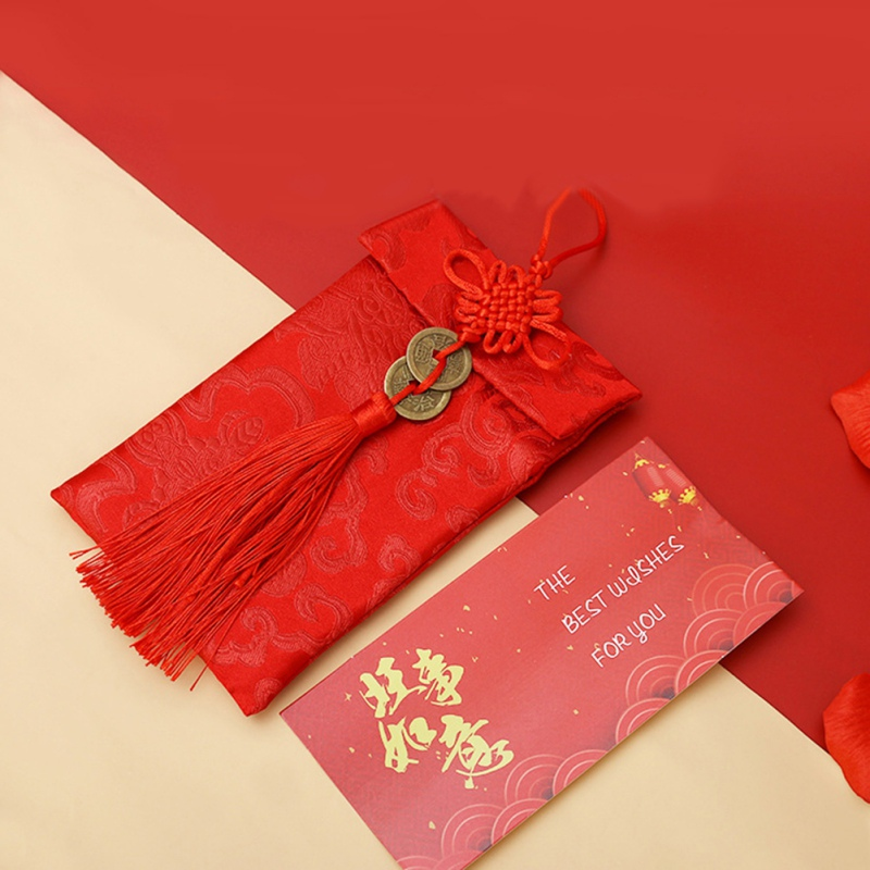 Chinese Style Red Envelope Cloth Art Betrothal Gift Bag Happy New Year High-grade Brocade Wedding Tassel Knot Money Pocket