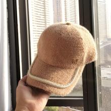 01911-mujiao зимняя теплая Женская Бейсболка с буквой М из искусственного меха