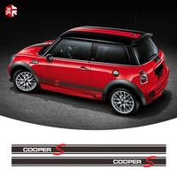 2 Pcs Car Styling Door Side Stripes Skirt Sticker Body Decal For MINI Cooper S R56 Accessories