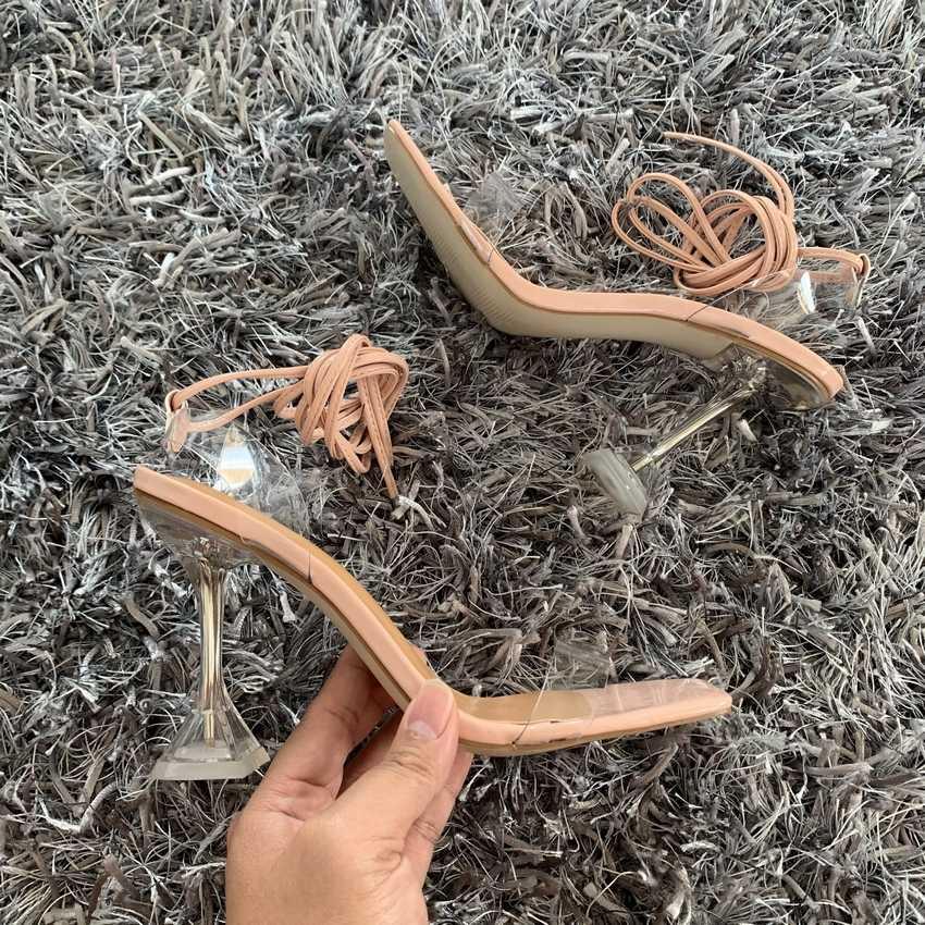Yaz PVC şeffaf ayak bileği çapraz kayış yüksek topuklu ayakkabılar kadın sandalet Peep Toe seksi parti kadın bayan ayakkabıları kadın Sandalias