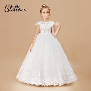 Girls Dress Sleeveless Baby Kids Clothes Children Kids Clothing Appliques Kids Girl Wedding Evening Gowns Party Dresses 1