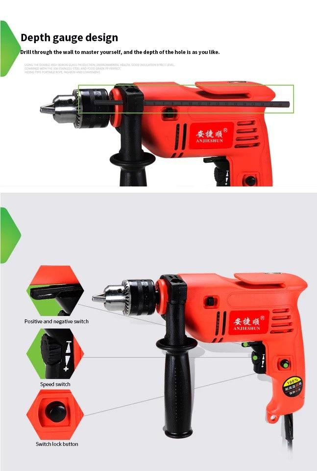 H6bdea90857d046d291e7f406a17ac331d - Anjieshun 30 Pieces / Set Impact Drill Multi-function Electric Drill Dual-use Drill Set Home DIY AC 13 Mm 950W 3300rpm