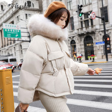 Fitaylor Winter Warm 90% White Duck Down 파카 여성 Large Real Raccoon 모피 칼라 후드 숏 자켓 코트 Loose Down Outwear(China)