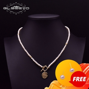 GLSEEVO Handmade Cross Metal Pendant Pearl Charm Beaded Necklace For Women Girls Birthday Natural Pearls Fine Jewellery GN0206