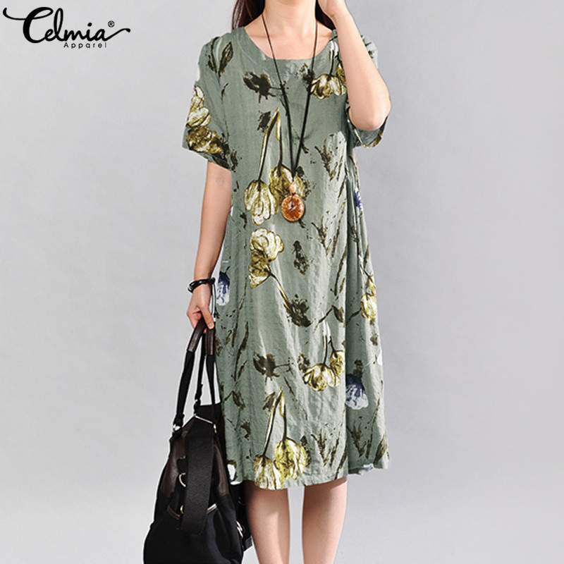 Summer Dress Women Vintage Floral Linen Sundress Celmia Ladies Short Sleeve Casual Vestidos Female Midi Dresses Plus Size 5XL