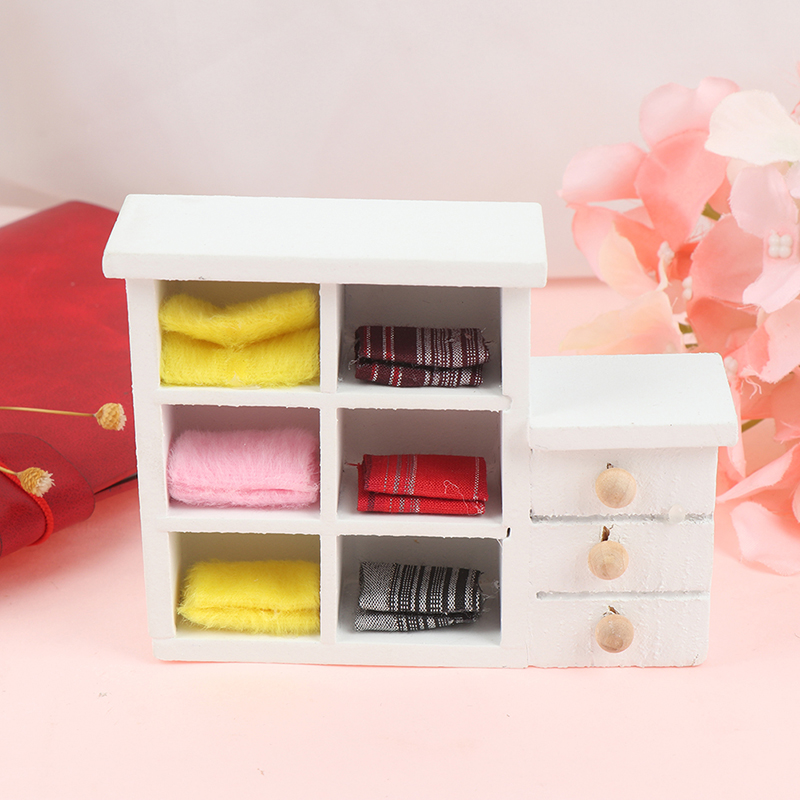 New Miniature Chinese Classical Wardrobe Mini Cabinet Bedroom Furniture Kits Home & Living For 1/12 Scale Dollhouse Accessories