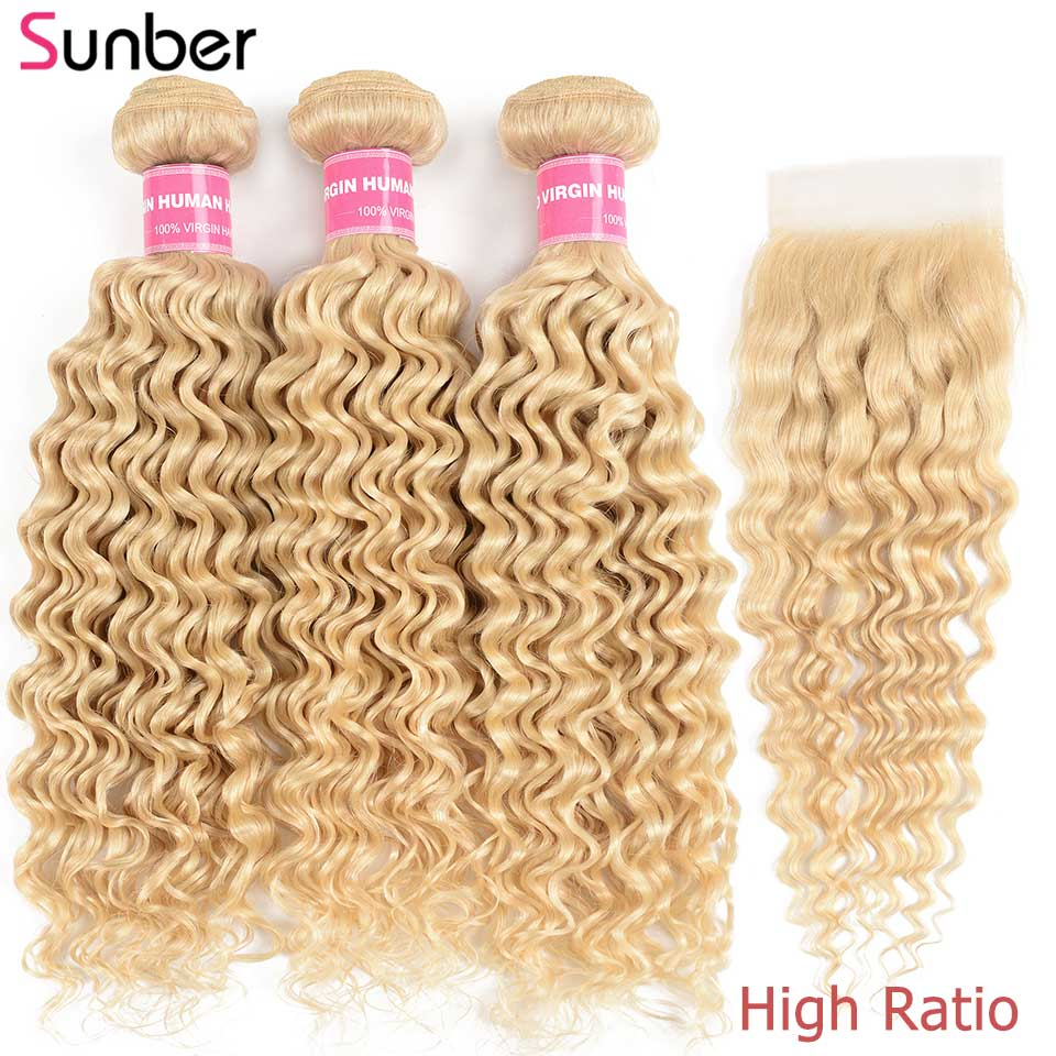 Sunber Hair 613 Bundles With Closure High Ratio Remy Human Hair  16-26 inch Brazilian Bondle Deep Wave 3/4 Bundles With Closure