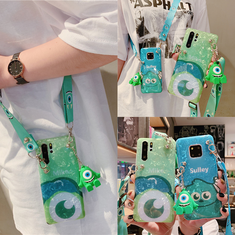 Sulley Mike Monsters case, Soft Cute Sullivan Cover With Bracket Neck Rope For Huawei Mate P20 P30 Nova 2S 3i 4e 5i Mate 20 Pro image