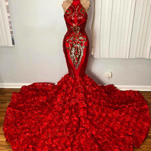 Red Mermaid Long Prom Dress 2020 Real Picture Stunning Sequi