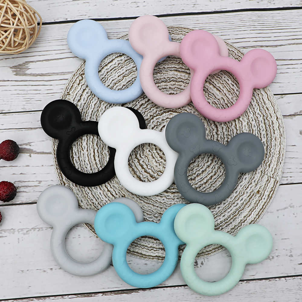 Tyry. hu 1 PC Mickey Silicone Teether DIY Baby Teething Teether Mainan Aksesoris Food Grade Kartun Teether Perawatan Hadiah Bpa Gratis