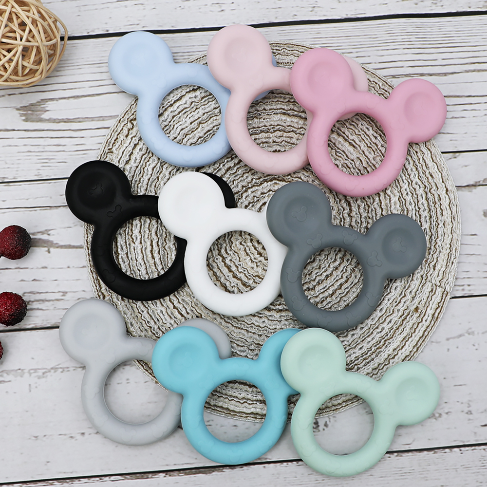 TYRY.HU 1pc Mickey Silicone Teether DIY Baby Teething Teether Toy Accessories Food Grade Cartoon Teether Nursing Gift BPA Free