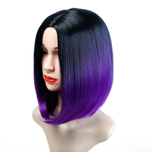 WTB Short Bob Style Wigs Ombre Black Mixed Purple Pink Green Brown Straight Hai Wigs for Women Synthetic Wig Overwatch Cosplay цена 2017