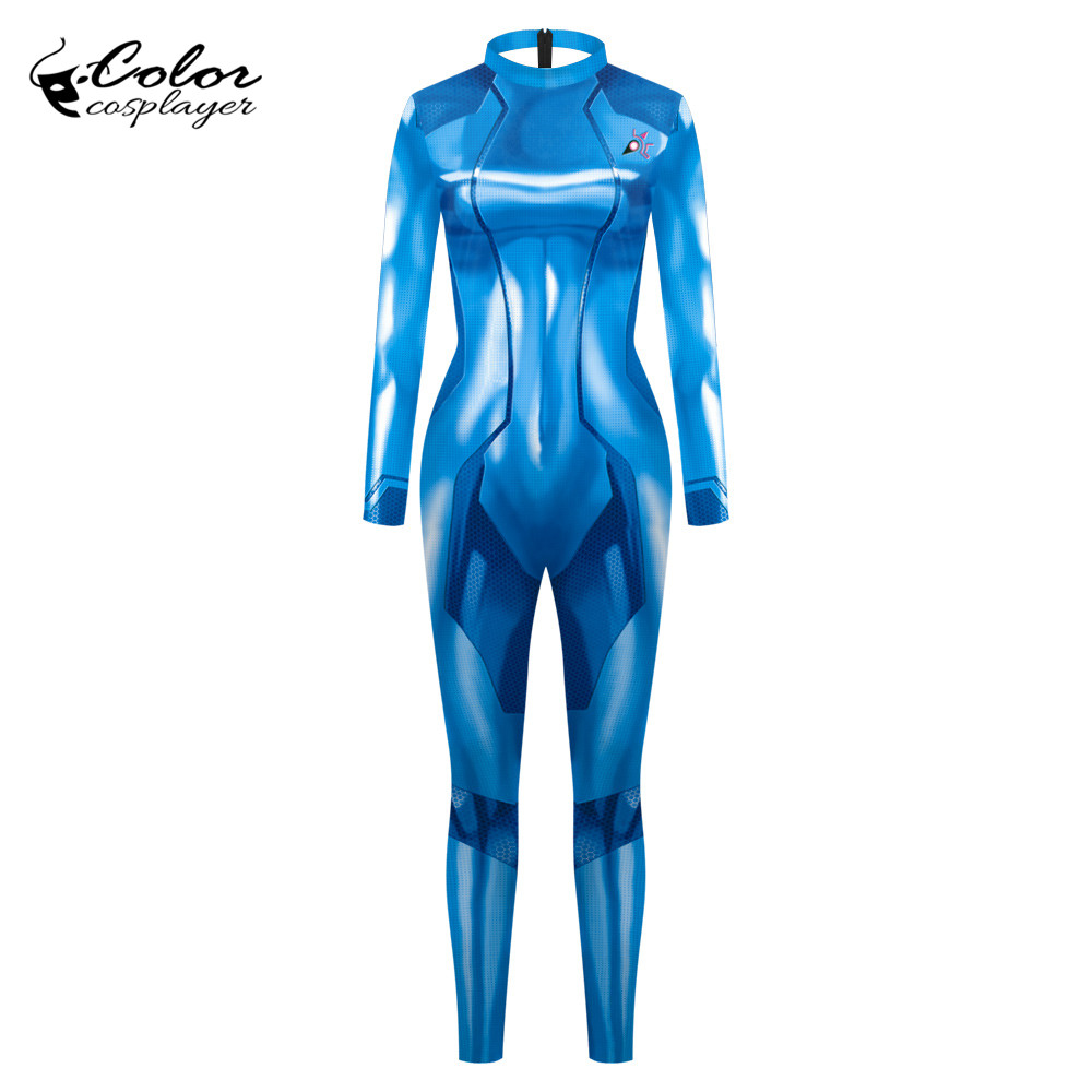 Color Cosplayer Samus Aran Cosplay Costum Women Clothing METROID Bodysuits Hunterman Adventure Game Sexy Purim Carnival Sets image