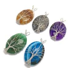 LE SKY Natural Stone 5 Color Quartz Necklace & Pendant Silver-color Tree of Life Wire Wrapped Water Drop Shape Men Women Jewelry цена 2017
