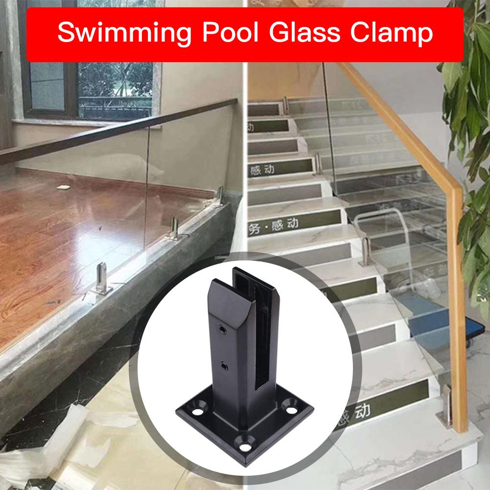 Black U Clamp Stainless Steel Glass Panel Pool Fence Staircase | Stainless Steel And Glass Staircase | Residential | New Fashion Glass | Architectural Glass | Galvanized Steel | High End Glass