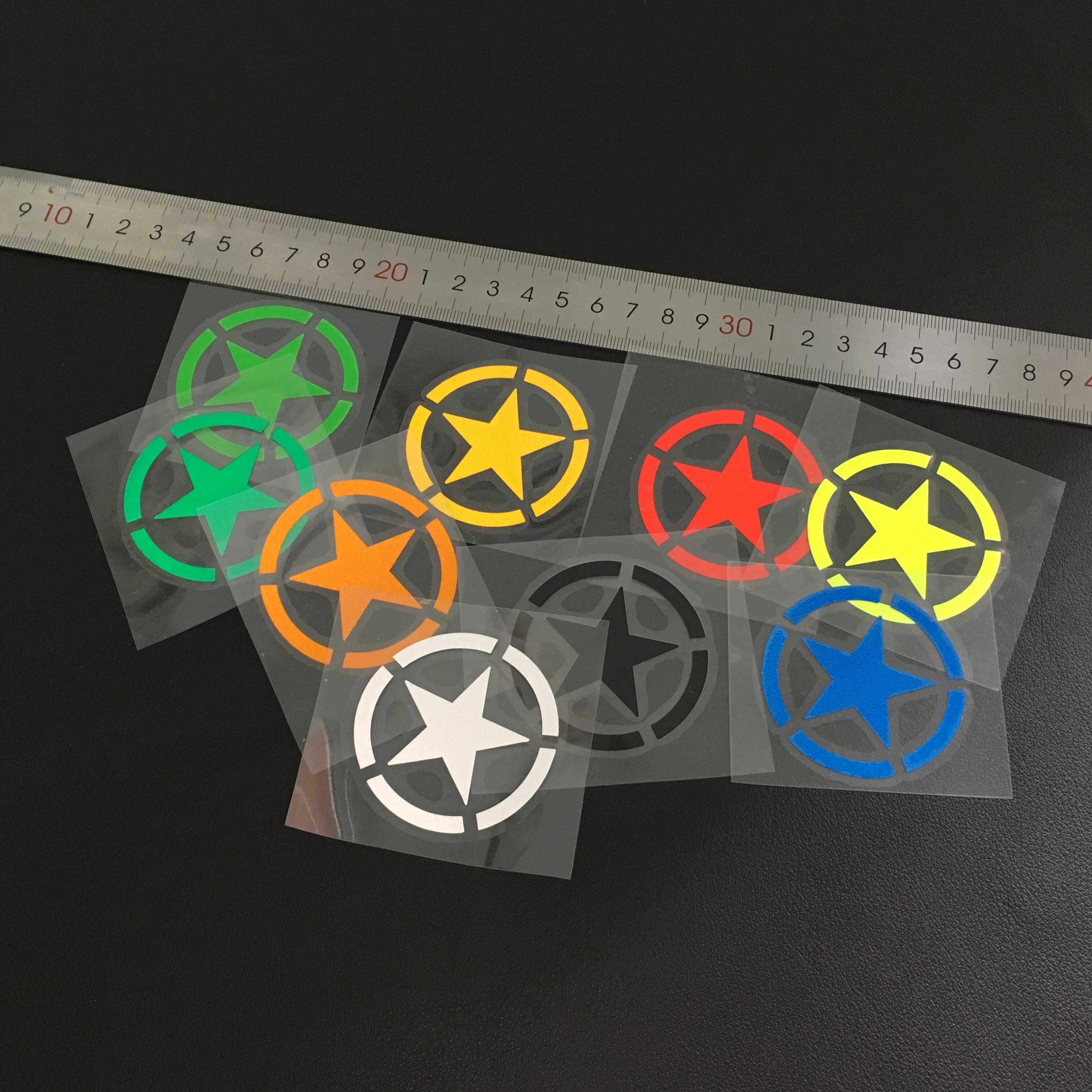 GalonDeco Reflective Army Stars Motorcycle Safety Stickers Decals Helmet DIY Sticker MOTO GP Fans Cars Sticker Decals