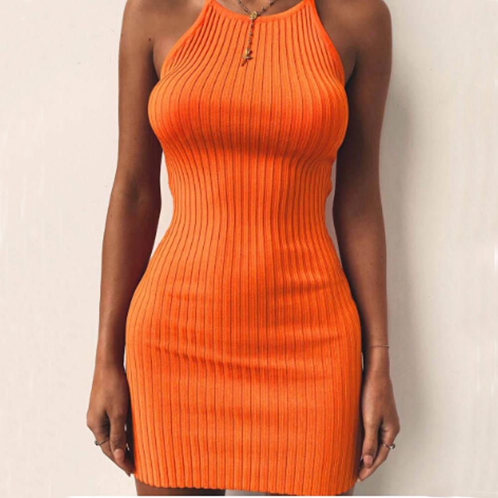 Women's Ladies Dresses Sexy Summer Sleeveless Tank Slim Mini Short Knitted Bodycon SunDress 5 Color Female Vestidos Orange