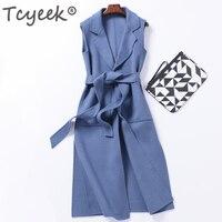 Tcyeek 2020 Fashion 95% Double side Cashmere Women's Vest Long Solid Wool Coat Female Waistcoat Women Wool Colete Feminino W1127