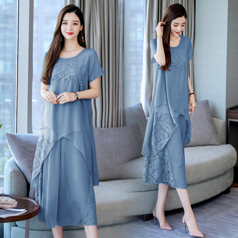 Set/Suit Skirt 2019 Summer Crew Neck Short Sleeve Solid Color Korean-style Elegant Fashion Joint