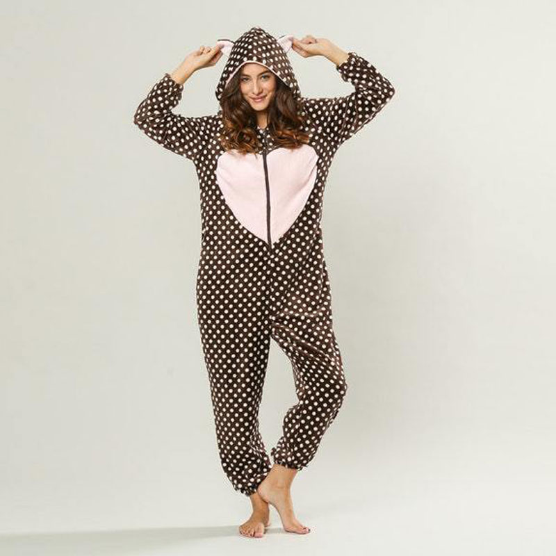 Women Long Sleeve Christmas Onesie for Adults Flannel Pijamas De Animales With Ear Pink Heart Winter Hooded Pajamas One Piece