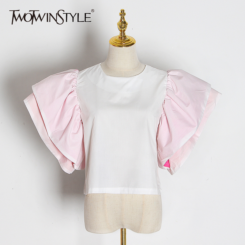 TWOTWINSTYLE Sweet Style Patchwork Blouses Female O Neck Butterfly Short Sleeve Hit Color Ruffle Women's Shirts 2020 Clothes New