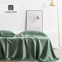 Lanlika Green Adult 100% Silk 25 Momme Natural Fabric Luxury Bed Linen Healthy Double Flat Sheet Pillowcase Euro Home Decor