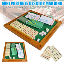 6-in-1 Mini Chinese Traditional Mahjong Game Traveling Set with Folding Table Board MU8669
