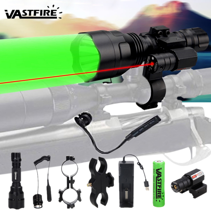 C8 XM-L Q5 Tactical Hunting Flashlight Rifle Lantern Armas Light+Laser Dot Sight+Switch+2*20mm Rail Barrel Mount+18650+Charger