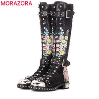 MORAZORA 2020 autumn winter fashion classic genuine leather knee high boots low heel round toe buckle rivet women boots