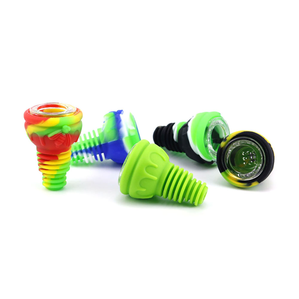 Hookah Shisha Pipe Accessories Silicone Head Holder Glass Bowl Water Smoking Bong Narguile Flavor Joint Tobacco Screens Skull 2